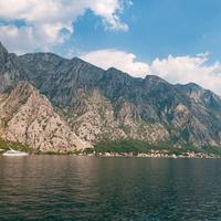 Mountain landscape on the shoreline in Montenegro