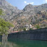 Mountainside landscape with wall on the river in Montenegro