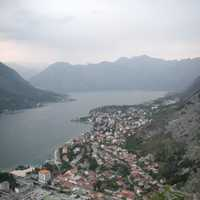Mountainside Village and river landscape in Kotor, Montenegro