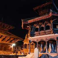 Nepal temple at night with buildings