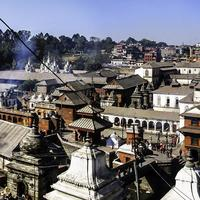 Panorama of the Pashupatinath Temple and buildings in Kathmandu, Nepal