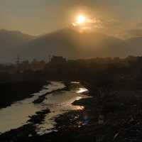 Sunset over the landscape in Kathmandu, Nepal