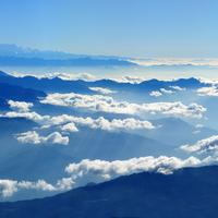 Mountaintop Landscape and Clouds in Nepal