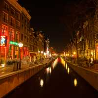 Amsterdam at night lighted up in the Netherlands