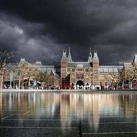 Building Architecture under dark clouds in Amsterdam, Netherlands