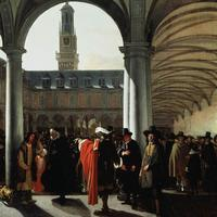Courtyard of Amsterdam Stock Exchange in 1653 in the Netherlands