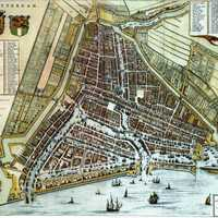 Map of Rotterdam in 1652 by Willem and Joan Blaeu, Netherlands
