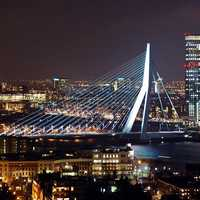 Night Time Cityscape of Rotterdam, Netherlands