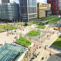 Plaza and City center in Rotterdam, Netherlands