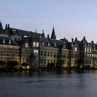 Hofvijver and the buildings of the Dutch parliament in the Hague, Netherlands