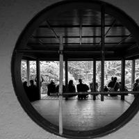 People through a circle at the Japanese Gardens, The Hague, Netherlands