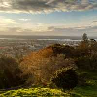 Landscape and cityscape with light from above in Auckland, New Zealand