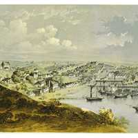 Painting of Auckland port, New Zealand 1857 landscape
