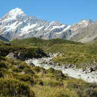 Hooker valley landscape looking towards Mount Cook