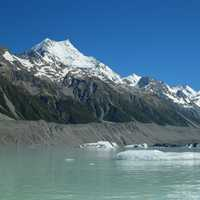 Ice Flows in Tasman lake at Mount Cook National Park