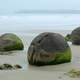 Boulders and rocks on the shore on Koekohe beach, New Zealand