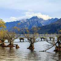 Glenorchy Wharf with mountains landscape