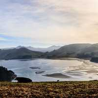 Papanui inlet Landscape  with lake and hills