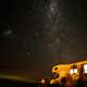 Stars and Milky Way above the trailer in Fortrose, New Zealand