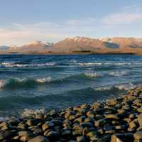 Waves on lake Tekapo Shoreline