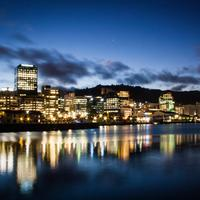 Night Skyline on the waterfront in Wellington, New Zealand
