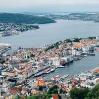 Aerial City view of Bergen