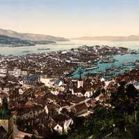 Overlooking the city of Bergen in the 1800s