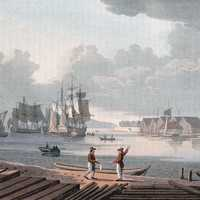 Cityscape and port of Christiania in 1800
