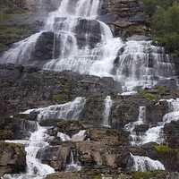 Cascading Waterfalls in nature in Norway