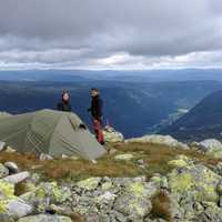Couple with tent in the Mountains in Norway