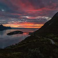 Dusk with clouds and fjord landscape in Norway
