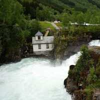 Rushing waterfalls and rapids in Norway