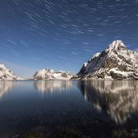 Star Trails with mountains and water in Norway