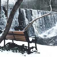 Bench overlooking the Snowy Waterfall
