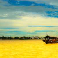 Boat on the yellow river landscape