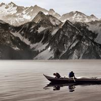 Canoeing in the shadow of the Mountains