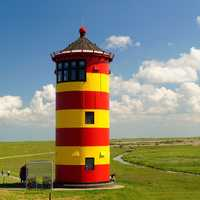 Colored lighthouse and landscape