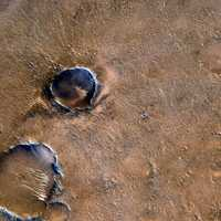 Craters on Mars top view