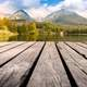 Deck and mountains landscape