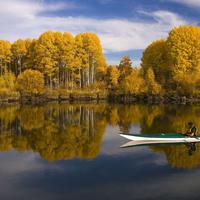 Lake, Kayaker and Landscape in the fall