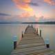 Landscape and seascape of dock into the water