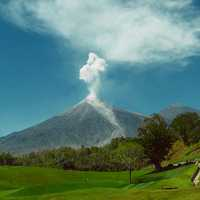 Landscape and small Volcanic Eruption