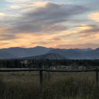 Landscapes at Dusk with mountains in the background