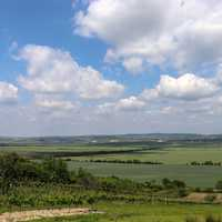 Landscape View  with sky and clouds and farms