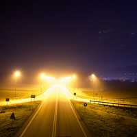 Lights on the highway at night landscape