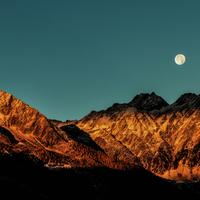 Moon over the Mountain Ridges
