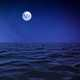 Moon over the ocean nightscape