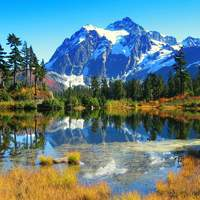 Mountains and Pond Landscape with majestic scenery