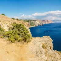 Overlook panoramic landscape of cliffs and seaside