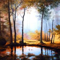 Painting of forest and pond
